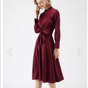 NWT Chicwish Bowknot Satin Dress in Wine